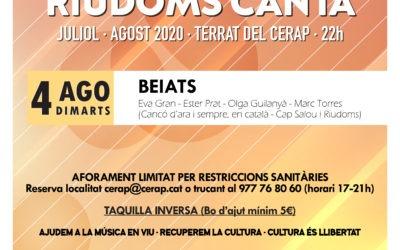 Cicle de concerts a la fresca «Riudoms canta»: Beiats